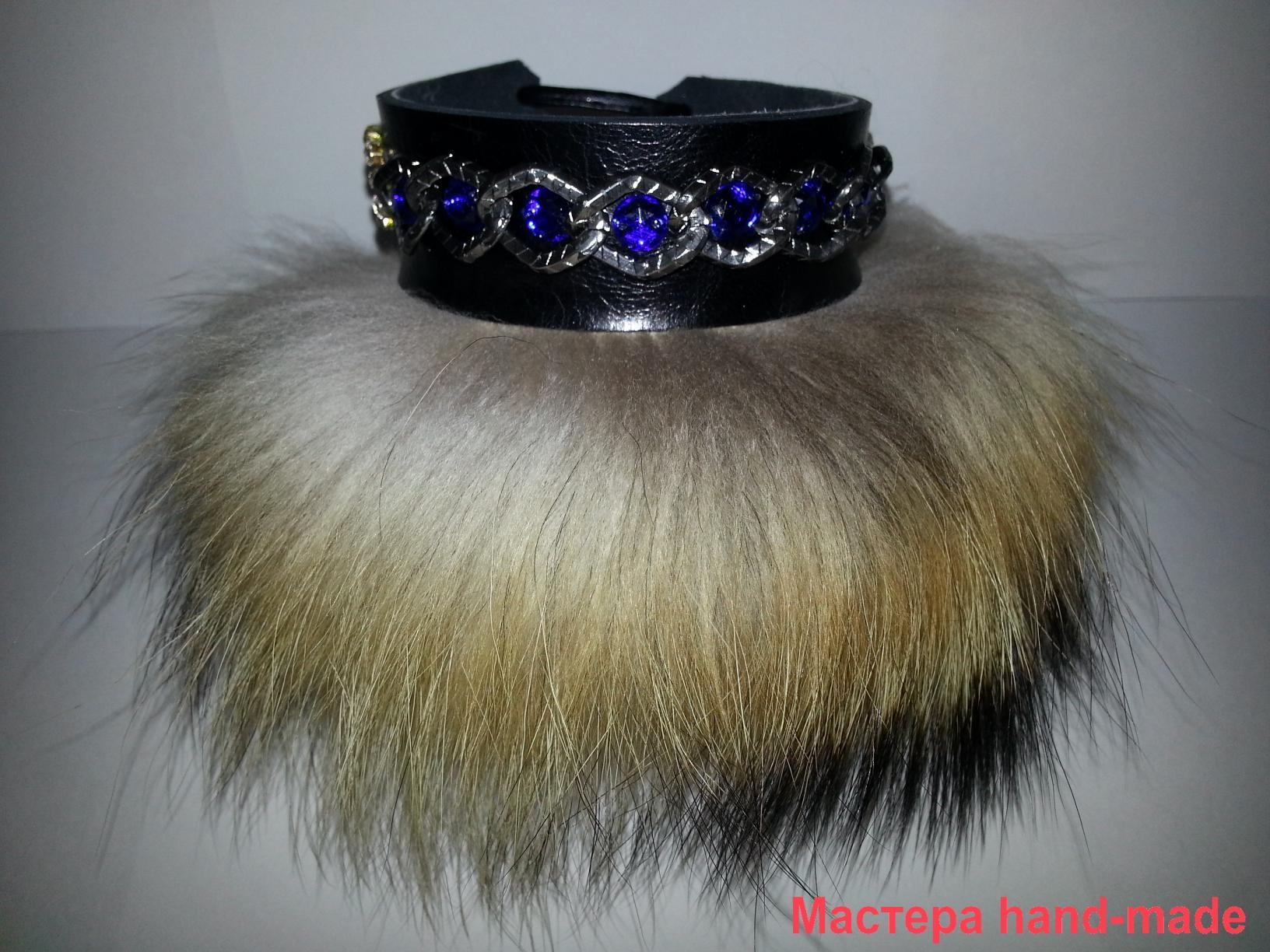 кожаный браслет с мехом