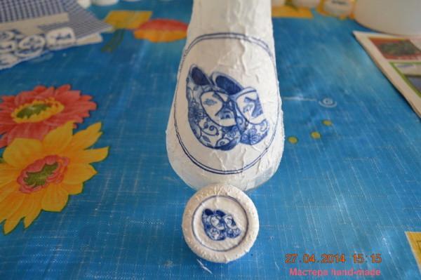 Декорирование бутылки декупаж и пейп-арт