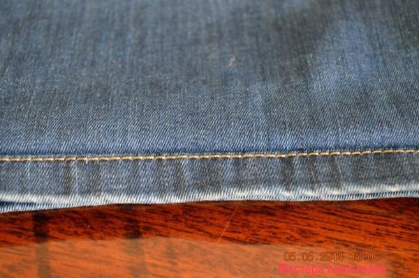 как подшить джинсы
