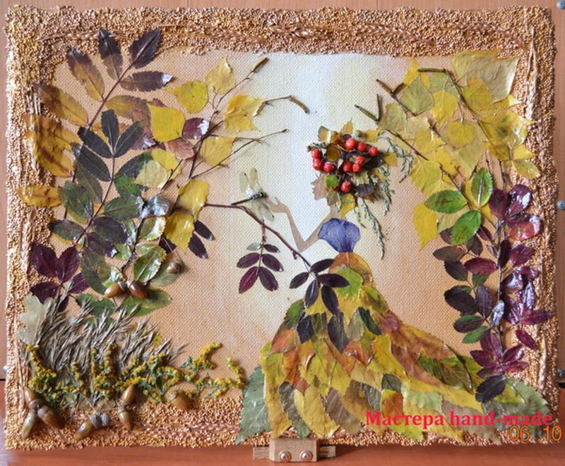 Картина из осенних листьев, своими руками