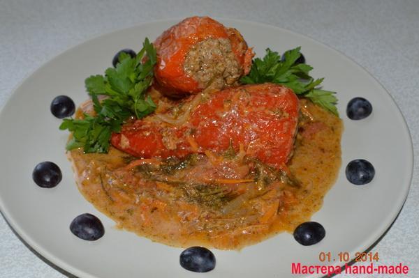Перец фаршированный с рисом и мясом, рецепт с фото