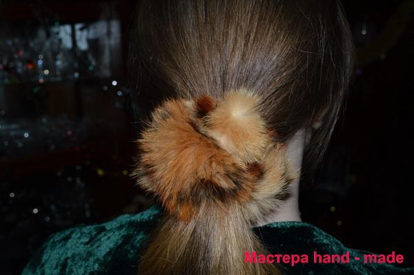 Меховая резинка для волос, своими руками