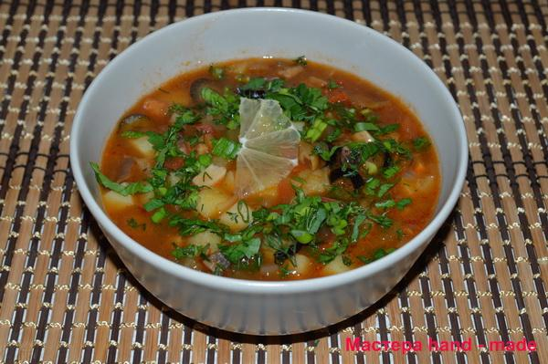 Солянка с грибами, рецепты постных блюд