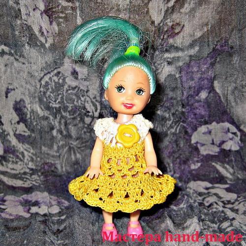 Вязаная одежда для кукол – платье кукле крючком