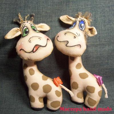 """Мягкие игрушки из ткани своими руками – """"Озорные жирафы""""."""
