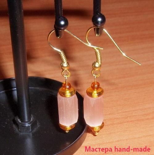 Серьги из бусин – Розовые фонарики (мастер класс)