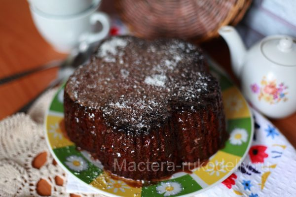 Шоколадный кекс на кефире с шоколадной глазурью