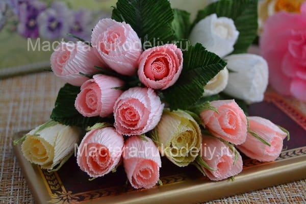 Как сделать розы из гофрированной бумаги своими руками