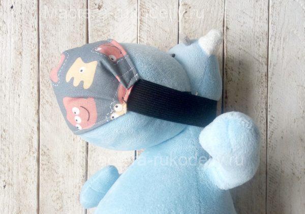 Детская медицинская маска на плюшевом бегемоте