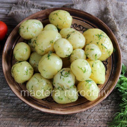 Выкладываем сваренный молодой картофель на тарелку