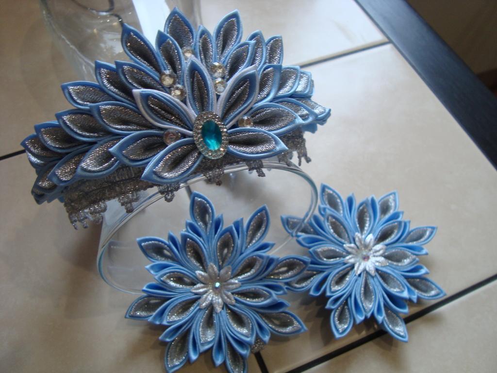 комплект корона снежинка канзаши и резинки