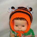 Как связать детскую шапочку – тигренок, мастер-класс с фото