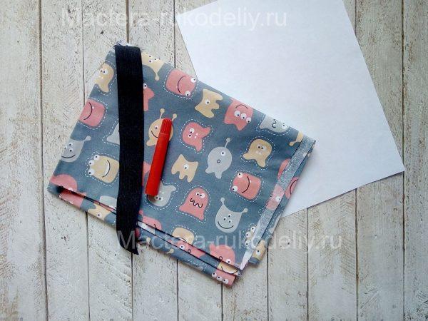 Ткань, бумага. фломастер, резинка для шиья детской медицинской маски для лица