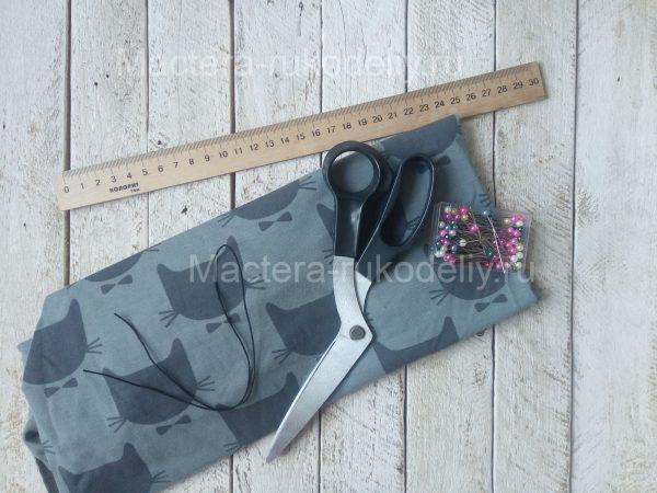 Трикотаж(неопрен), сетка, ножницы, швейная машина потребуются для изготовления медицинской маски своими руками