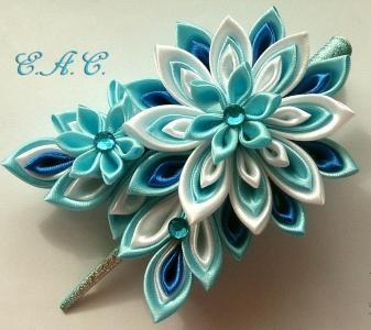 цветок канзаши на заколке